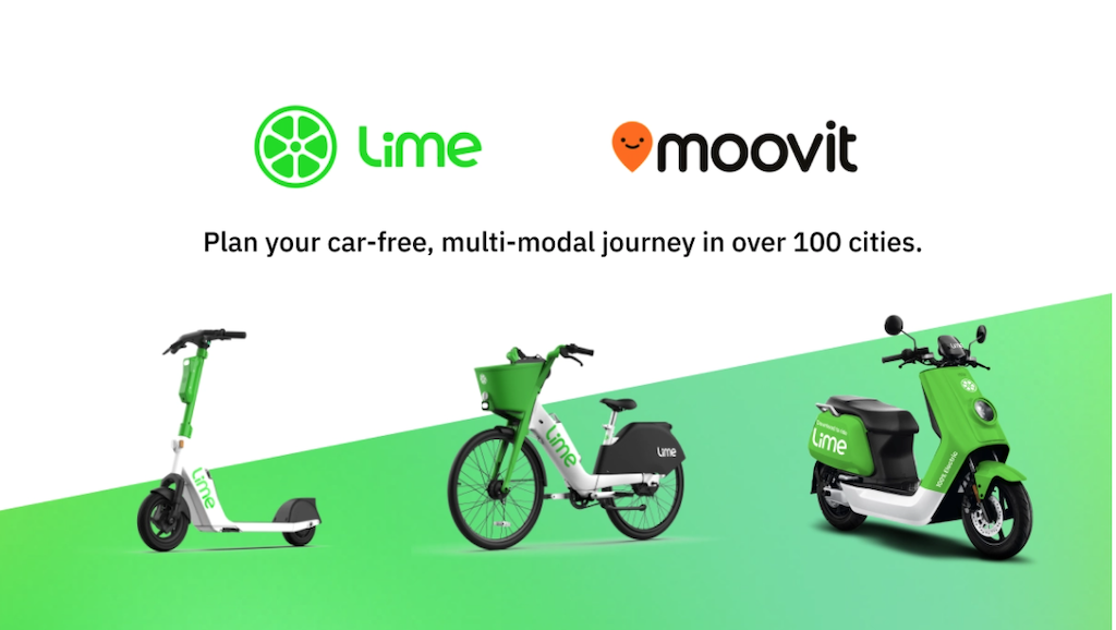 moovit integrates lime e-scooters into journey planning app
